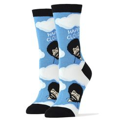 "Bob Ross' legacy lives on with Bob Ross Happy Clouds Socks. Blue socks, clouds, ""Happy Clouds"", and Bob Ross' image make these one fun pair of novelty socks for women.  Approximately fits women's shoe 5-10. 70% Combed Cotton, 27% Nylon, 3% Spandex"