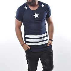 Long T-Shirt GERMANY 10 Stars Print Slim Fit Cotton Basic Top Longshirt Tee 895