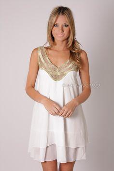 devotion cocktail dress - white/gold