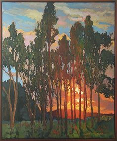 Trees At Sunset by Jan Schmuckal Oil ~ 24 x 20