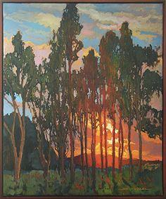 Trees At Sunset by Jan Schmuckal Oil ~ 24 x 20