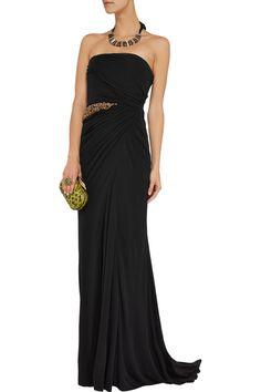Badgley MischkaCrystal-embellished crepe gown