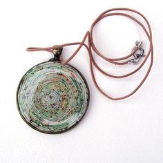 Vintage Map Spiral Stratum Necklace paper coil by robayre on Etsy, $45.00