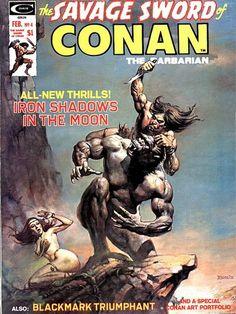 Savage Sword of Conan #4: Iron Shadows in the Moon. Cover by Boris Vallejo (1975).