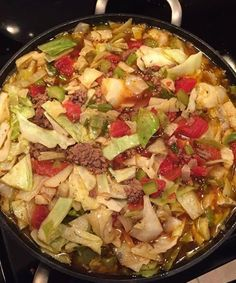 Ingredients: 2-3 pounds of hamburger (can substitute ground turkey) 1 head of cabbage, chopped 2 cup celery, diced 2 cup white or yellow onion, diced 1 green bell pepper, diced 2-3 cloves garlic, minced 5-6 cups beef broth 2 – 14 oz can