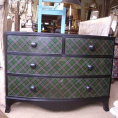 A handsome Victorian chest of drawers decorated in tartan on top, front and sides 45 wide x 21 deep x 33 inches high