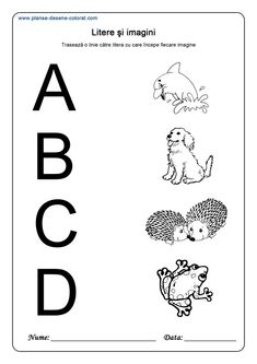 Corespondente litere cu imagini - Planse de colorat si educative Preschool Activities, Bees, Teaching Ideas, Logo, Tattoos, Cots, Simple Lines, Logos, Tatuajes