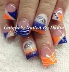 Denver Broncos acrylic nails