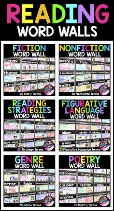 200 Reading Vocabulary Terms with student-friendly definitions and supporting visuals! These reading word walls can also be used as reading flashcards or posters!  Genre posters | Fiction posters | Nonfiction Posters| Reading Strategies Posters | Figurative Language Posters | Poetry Posters | Vocabulary Posters