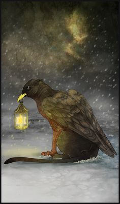 "Crows Ravens:  #Raven ~ ""Gryphon Tarot - The Hermit,"" by Bailiwick, at deviantART."