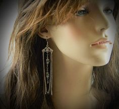 Long Hematite & Silver EarringsRESERVED for Maria by RosesDesigns, $16.00