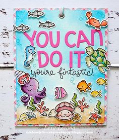 Lawn Fawn Encouragement wall hanger by Lexa Levana (using Critters in the Sea, Year Six, Fintastic Friends)