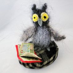 Cute Wise Owl Ornament - Textile Art, Paradis Terrestre - Luxury British Made Accessories & Homeware