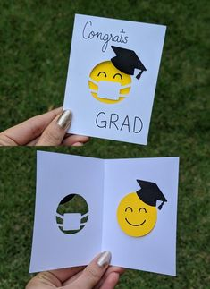 """Send a smile to your loved ones with this cute cut-out greeting card. This adorable mini card is inches and features a smiling face wearing a grad cap and a face mask with the text """"Congrats Grad. Diy Graduation Gifts, Graduation Party Decor, Graduation Quotes, Graduation Ideas, Boyfriend Graduation Gift, Graduation Announcements, Graduation Invitations, Make Your Own Card, Card Envelopes"""