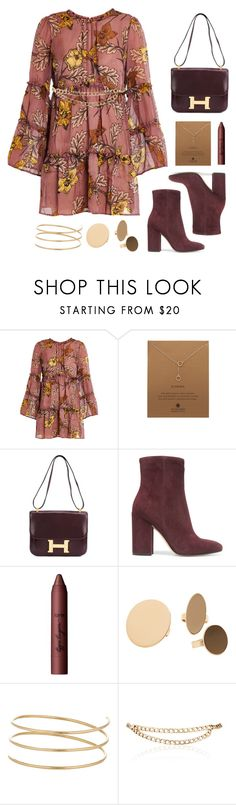 """Bell Dress."" by goldenkeys ❤ liked on Polyvore featuring For Love & Lemons, Dogeared, Hermès, Gianvito Rossi, tarte, MANGO, Sophie Bille Brahe and Maison Mayle"