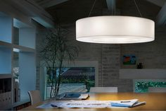 ATOLLO; Suspension in white polyethylene. Chromium-plated metal details • TPL LIGHTING • MERGING LIGHTING WITH DESIGN • TPLLIGHTING.COM • TORONTO, CANADA •