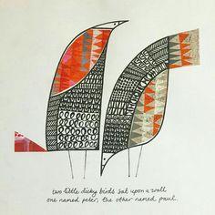 Bird Doodle Zentangle Ideas 45 Ideas For 2019 Traditional Nursery Rhymes, Bird Doodle, Art Textile, Collage Artists, Collages, Bird Illustration, Illustrations, Motif Floral, Painting Art