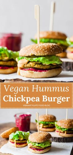 A delicious Vegan Hummus Chickpea Burger with hot pink beetroot hummus and an easy chickpea patty, that will satisfy even the carnivores! #vegan #burger #veganburgers #vegetarian #vegetarianrecipes #hummus Vegetarian Burger Patties, Vegan Chickpea Burger, Burger Patty Recipe, Vegan Patties, Vegan Hummus, Chickpea Patties, Vegetarian Recipes Dinner, Vegan Dinners, Vegan Recipes