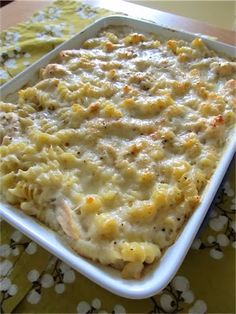 Baked Cheesy Chicken Pasta - This recipe is great because it uses things that we always have in our cupboard and is pretty dang foolproof.