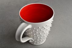 Spiky Mug Made To Order White and Red by symmetricalpottery, For those guests that just won't leave. . .