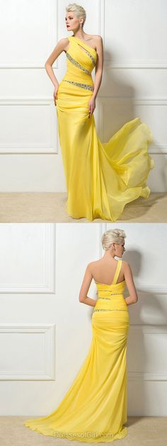Yellow Prom Dresses, Sheath/Column One Shoulder Long Party Gowns, Chiffon Sweep Train with Beading Formal Evening Dresses