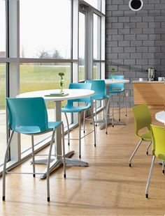 "Cafe stools are a fun way to mix the seating heights to ""break up"" a boring break room! This is the HON Motivate Collection."