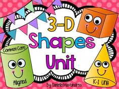 This 3-D shapes unit is aligned to the Common Core Standards for kindergarten & first grade. This unit is jam packed with posters, sorting cards & sorting mats, 3-D headbands, activity pages and much much more!Included in this unit:-Five 3-D posters (cube, cone, cylinder, sphere & rectangular prism)-5 headbands (includes all 5 shapes listed above)-Count and graph sheet-5 magazine cut & draw 3-D shape sheets including all shapes listed above-5 posters (discusses dimensions, which ...