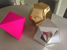 geometric shapes for Carols wedding! Geometric Box, Geometric Decor, Geometric Shapes, Diy Craft Projects, Fun Crafts, Diy And Crafts, Crafts For Kids, Craft Ideas, Diy Paper