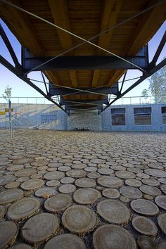 Mosaic wood slice pavement...this would be great to do in the backyard
