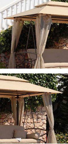 Luxor Beige Swing Seat Flat Bed Gazebo Suntime