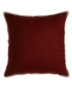 "H82M0 Jane Wilner Designs New Castle Merlot Plaid Pillow, 20""Sq."