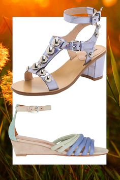 Purple Iridescent Studded Sandal, MARKUS LUPFER (Available at Shopbop), $465; Pastel Strappy Wedge Sandal, REBECCA MINKOFF, $225   - Cosmopolitan.com