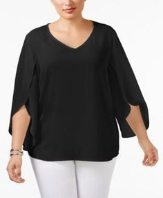NY Collection Plus Size Tulip-Sleeve Chiffon Blouse $24.50 NY Collection's plus size chiffon blouse features a beautiful floaty tulip-sleeve design...absolutely stunning paired with dressy trousers or a patterned pencil skirt.