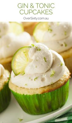 Gin & Tonic Cupcakes Recipe - these grown-up cupcakes are a delicious spin on cocktail hour. Perfect for a milestone birthday or engagement party.