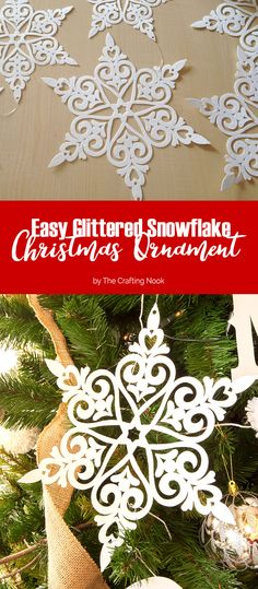 This craft is crazy easy and inexpensive! Easy Glittered Snowflake Christmas Ornaments. Thinking about last minute ornament for empty tree spots? this is it!
