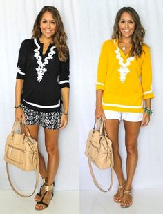 4 Flattering Outfits to Hide Tummy - Glam Bistro ... looks cute and practical (maybe not white shorts, though!).