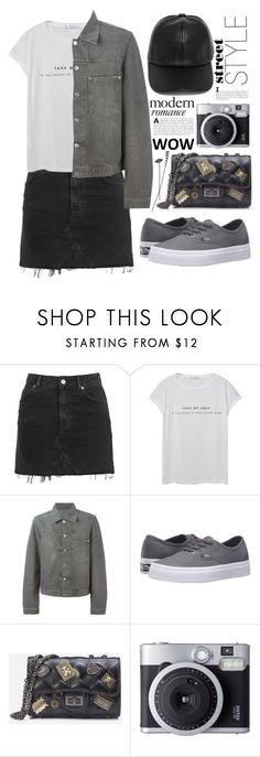 """#82"" by kgarden ❤ liked on Polyvore featuring Topshop, MANGO, Helmut Lang, Vans, Fujifilm and LULUS"
