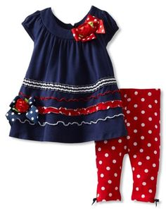 Amazon.com: Bonnie Baby Girls Infant Navy and Red Legging Set: Clothing