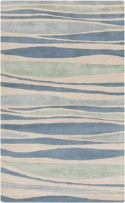 Luxury Blue and Green Waves Area Rug