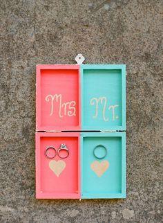 Boîte à alliances DIY, rose et bleue
