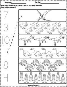 Count and Match Dinosaurs Dinosaur Worksheets, Dinosaur Theme Preschool, Graphing Worksheets, Dinosaur Activities, Free Kindergarten Worksheets, Homeschool Kindergarten, Math Resources, Preschool Activities, Free Preschool