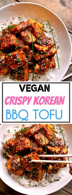 Vegan Crispy Korean BBQ Tofu Ingredients 1 Extra firm tofu Cup Tomato sauce, canned Cup Rice Wine Vinegar Cup Soy sauce or liquid aminos 2 Tablespoons Agave syrup 2 Teaspoons Gochujang paste 1 Small Apple, finely grated 2 Cloves Garlic, finely grated Vegan Recipes Easy, Veggie Recipes, Asian Recipes, Whole Food Recipes, Vegetarian Recipes, Cooking Recipes, Baker Recipes, Healthy Korean Recipes, Firm Tofu Recipes