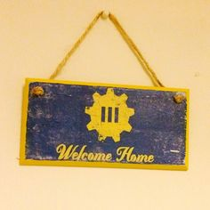 Welcome Home ~ Fallout 4 inspired wall plaque~ door sign ~ handmade ~ gaming inspired – Marla Curtis – Diy Home Welcome Home Crafts, Virgo, Nerd, Etsy Crafts, Door Signs, Wall Plaques, House Painting, Game Room, Geek Stuff