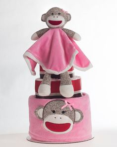 "The ""Sock Monkey"" Diaper Cake. Baby Shower Centerpiece or Gift. on Etsy, $68.00"