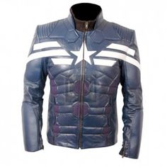 Captain America The Winter Soldier Blue Leather Jacket, made from genuine sheepskin leather.  Get yours NOW!!!