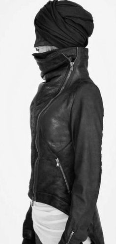 by isabel benenato | f/w 13/14 black leather stand collar asymmetrical zipper jacket