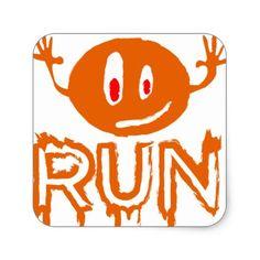 Run | Little halloween monster Square Sticker - Halloween happyhalloween festival party holiday
