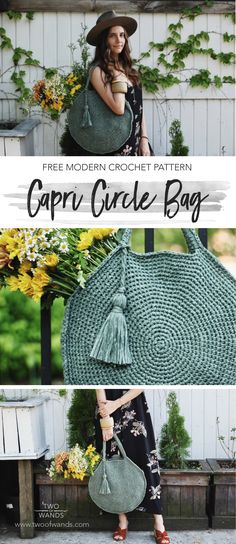 MODERN CROCHET BAGS: Capri Circle Bag pattern by Two of Wands; You better hurry and get this Capri Circle Bag free pattern! This bag would look good on any outfit. Discover more... #bags #crochetbags #DIY #handmadecrafts