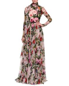 -6CE7 Dolce & Gabbana  Long-Sleeve Rose-Print Gown, Pale Pink/Multi