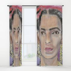 Probably the perfect curtain for #fridakahlo fans? The original I painted with #pastel . -  Check my #artprint s on #society6 .-   #portrait #print #mexican #mexico #printdesign #interiordesign #homedecor #painting
